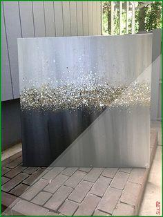 Epoxy House – Full of Beauties Glitter Wall Art, Glitter Canvas, Glitter Paint, White Glitter, Diy Canvas Art, Diy Wall Art, Bild Gold, Oil Painting Texture, Crushed Glass