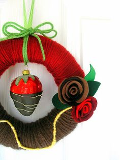 Chocolate Dipped Strawberry Yarn Wreath by KnockKnocking, via Flickr