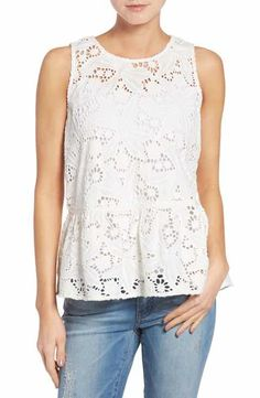 Halogen® Cotton Lace Ruffle Hem Tank (Regular & Petite)