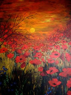 Black Friday 50% OFF Canvas Print Of Original Oil Painting Poppy Field - Sunset With Poppies - signed. $50.00, via Etsy.