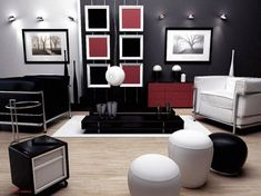 GroBartig Schwarz Rot Wohnzimmer Zubehör