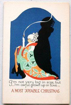 Vintage Christmas Card by Volland ~ Orange Details