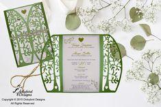 Green Laser Cut Wedding Invitation