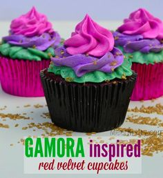 Marvel's Guardians of the Galaxy Gamora Inspired Red Velvet Cupcakes #GuardiansoftheGalaxyEvent | MeetKristy.com