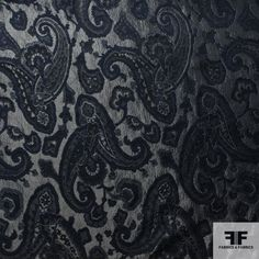 This elegant brocade is imported from Italy. The brocade has a fabulous paisley design with some metallic element in it, which makes the fabric more vivid. The color navy and grey creates an antique classic look. It is also soft hand with medium weight. Therefore, it will suitable for shirts, dresses, coats and interior fabrics.