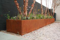 Needs more lush green to offset, but I love it. Lee Garden, Garden Gates, Landscape Architecture, Landscape Design, Garden Design, Steel Retaining Wall, Restaurant Exterior, Corten Steel Planters, Front Yard Landscaping