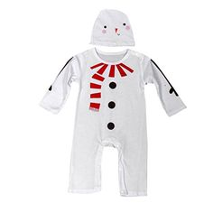 Inkach Fashion Kids Infant Baby Boys Girls Christmas Suit Romper Hat Outfits Clothes (90, White) ** Check out @