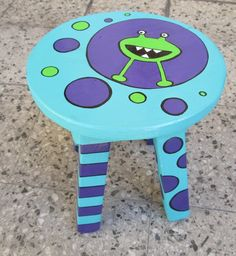 Hand Painted Chairs, Painted Stools, Painted Baskets, Hand Painted Furniture, Funky Furniture, Refurbished Furniture, Paint Furniture, Handmade Furniture, Kids Furniture