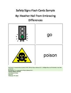 Safety Sign Flash Card Sample
