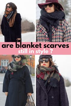 are blanket scarves still in style, how to wear blanket scarves, scarf outfit How To Wear A Blanket Scarf, Plaid Blanket Scarf, How To Wear Scarves, Fashion Group, Fashion Outfits, Fall Scarves, Oversized Scarf, All About Fashion, Scarf Styles