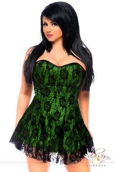 44da9595e1 Daisy Corsets Green Lace Corset Mini Dress - Plus Too