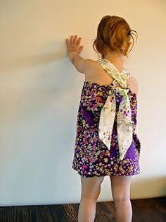 THE SEWING DORK: Pattern Free Tie Back Halter Top, girls dress or cute top??