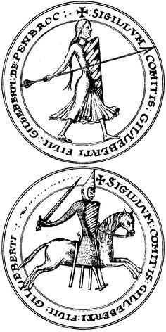 Seal of Gilbert Fitz Gilbert de Clare, Earl of Pembroke. Blood Libel, Welsh Castles, My Ancestry, Plantagenet, All In The Family, My Family History, Viking Warrior, Family Genealogy, Chivalry