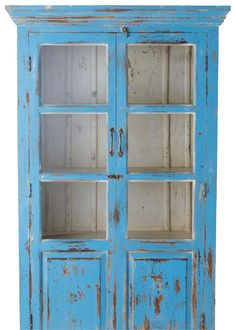 Mueble decapado - Vitrina azul Avignon, 180x105x40 cm. Maisons du Monde, 590…