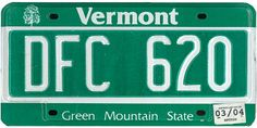 This is the official license plate for the state of Vermont as it has been officially adopted by the state legislature. Also known as a vehicle registration plate, it is used to identify the car and owner of a motor vehicle or trailer in the state. Car License Plates, License Plate Art, Licence Plates, Green Mountain, Vermont, Vehicle Registration Plate, Family Chiropractic, Mountain States, The Rev