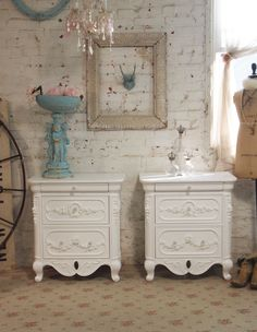 Painted Cottage Chic Shabby White French Night by paintedcottages, $395.00