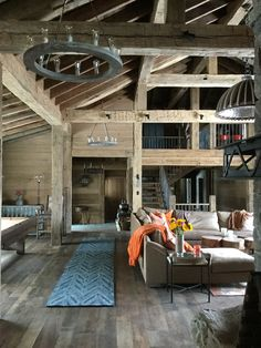 Big and bold in Montana ! Reclaimed wooden beams , floors and walls . Amazing space !