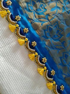 Crochet for saree tassels Saree Tassels Designs, Saree Kuchu Designs, Bridal Blouse Designs, Hand Embroidery Designs, Embroidery Patterns, Latest Pattu Sarees, Broderie Simple, Saree Border, Before Wedding