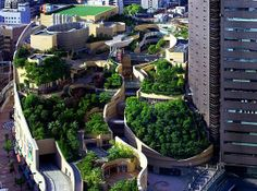 Creating a wilderness environment in an urban center: Japan's Namba Parks Has an 8 Level Roof Garden with Waterfalls