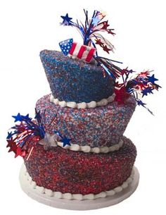 Sparkly of July Cake This would be so awesome for our party Candy Cakes, Cupcake Cakes, Cupcakes, Fourth Of July Cakes, July 4th, Wedding Cake Toppers, Wedding Cakes, Sweetarts, Delicious Deserts