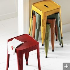 "Alsace Metal Stool (45666): 11-1/2""W x 12-1/2""D x 18""H, 5 lbs; Maybe these yellow stools for $49 vs. other yellow ones"