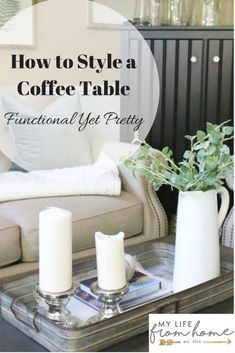 How to Style a Coffee Table- functional yet pretty- coffee table- styling- home decor- fall decor- seasonal- living rooms- home design- home decorating- fall- farmhouse style Funky Home Decor, Cheap Home Decor, Diy Home Decor, Room Decor, Farmhouse Side Table, Farmhouse Style, Modern Farmhouse, Coffee Table Styling, Coffee Tables