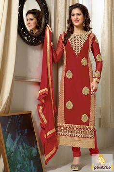 Our site provides the cream maroon embroidery Salwar Suit which is in purest georgette, chiffon. It is nice embroidered and lace patti worked party wear. #onlinestraightcutsalwarsuits #straightcutsalwarkameez #embroideredstraightcutsalwarsuits #straightsalwarsuits