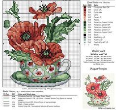Мобильный LiveInternet Цветы в чашках - схемы для вышивки крестиком | ЯРМАРКА_РУКОДЕЛИЯ -  ЯРМАРКА_РУКОДЕЛИЯ |