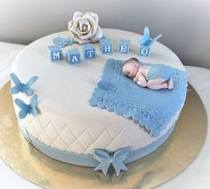 Dåpskake gutt Baby Shower Cake Designs, Baby Shower Cakes, Birthday Balloon Decorations, Birthday Balloons, Baby Christening Cakes, Baby Shawer, Blue Cakes, Cool Birthday Cakes, Cake Decorating
