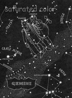 Gemini Night Sky Star Chart Map - 1948 Zodiac Constellation Stars from Astronomy textbook
