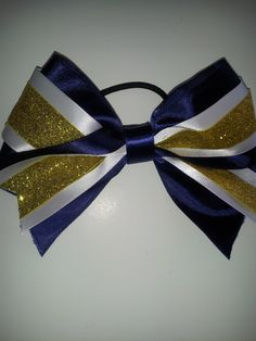 navy blue white and gold cheer bow by MiaBowPeepsBowtique on Etsy, $6.00
