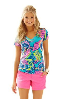 e10b81faee17a Michele V-Neck Top - Lilly Pulitzer Sea Blue Private Island