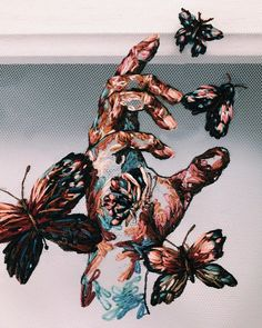 Hand Embroidery By Katerina Marchenko I create these embroideries which are inspired by fashion and haute couture. I stitch colorful threads into tulle to create artwork. My technique is a combination of many shades of threads - organized chaos. Hand Embroidery Stitches, Embroidery Art, Embroidery Designs, Inspiration Art, Art Inspo, Art Sketches, Art Drawings, Sketchbook Drawings, Sketchbook Ideas