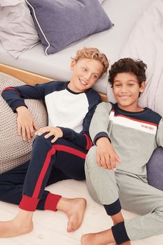 Buy Multi Sporty Pyjamas Two Pack from the Next UK online shop Boy Fashion 2018, Young Boys Fashion, Cute Kids Fashion, Teen Fashion, Cute 13 Year Old Boys, Young Cute Boys, Cute Teenage Boys, Teen Boys, Boys Pjs