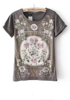 Grey Flowers Round Neck Short Sleeve Cotton T-Shirt