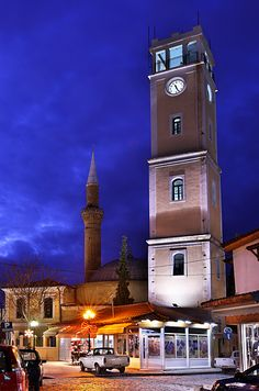 "This is my Greece | Two of the trademarks of Komotini. In the foreground the clocktower and in the background the minaret and the dome of Yeni Cami (""New Mosque"")."
