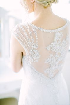 Embroidered back wedding dress |  Photography: Love And Light Photographs - loveandlightphotographs.com  Read More: http://www.stylemepretty.com/2014/11/10/summer-new-jersey-lakeside-wedding/