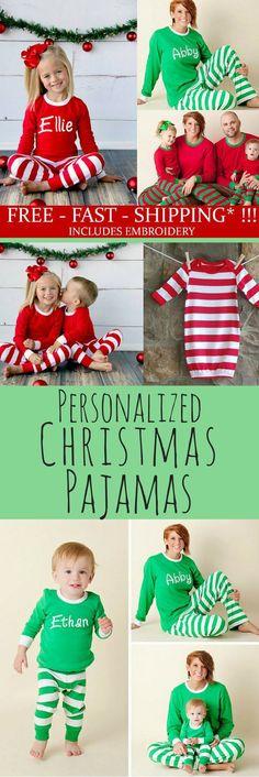 8b8ae5296c Christmas Pajamas - Personalized Christmas Pajamas, Monogram Christmas  Pajamas, Newborn Christmas Gown, Family
