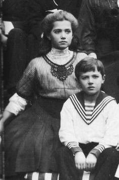 Tsarevich Alexei Romanov and his third sister the Grand Duchess Maria, children of Tsar Nicholas II and Empress Alexandra