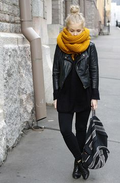 total black look + yellow scarf | casual style