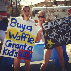 Chi Omega from Stanford selling waffles to benefit the Make-A-Wish Foundation