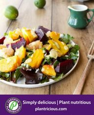 Certified Plantricious Recipe  Citrus Beet Salad with Creamy Avocado Lime Dressing-( Oh She Glows)