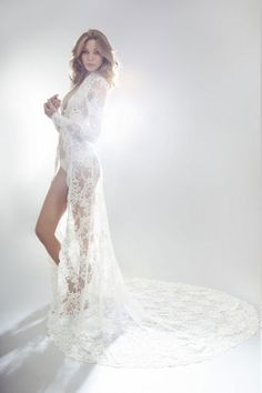Sexy-Classy Bridal Lingerie to Wear on Your Wedding Night - Lace Robe by State of Grace
