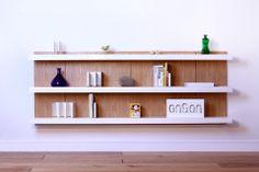 Shelving system, oak panels white shelves