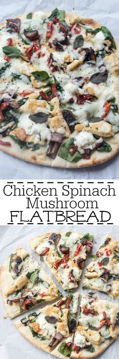 This flatbread is super easy to make with mushrooms, pepper, spinach, tomatoes, goat cheese and mozzarella cheese. Chicken Spinach Mushroom, Spinach Stuffed Mushrooms, Spinach Stuffed Chicken, Chicken Mushrooms, Stuffed Peppers, Chicken Goat Cheese, Mushroom Salad, Chicken Pizza, Breaded Chicken