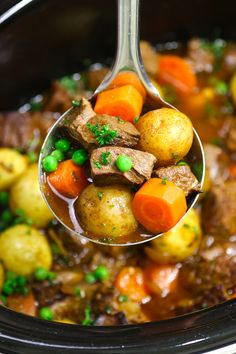 This Slow Cooker Beef Stew has tender, melt-in-your-mouth beef simmered in a rich and divine sauce with vegetables. The perfect comfort food! Slow Cooker Stew Recipes, Crock Pot Slow Cooker, Healthy Crockpot Recipes, Beef Recipes, Healthy Snacks, Beef Meals, Crockpot Meals, Recipies, Health Meal Prep