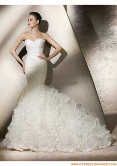 Vestidos de novia corte sirena con olanes