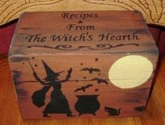 Primitive Halloween Recipe Boxes box Witches Witchcraft Folk Art Black Cats Baking Hearth Witch's Kitchen Witch Pagan Wiccan Magic  by Halloweenwhimsy, $27.00