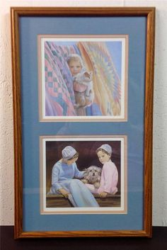 DAUGHTERS by N. A. Noel AMISH Girls 2 Retired Signed Double Matted Framed Prints #Amish #Noel