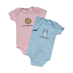 milk cookies boy/girl twin onesies set cute/funny twin baby clothing found on Polyvore  http://www.polyvore.com/milk_cookies_boy_girl_twin/thing?id=17538618